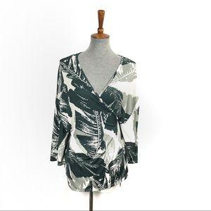 Oak + Fort Palm Print Wrap V Neck Blouse